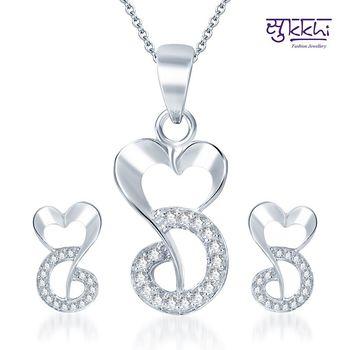 Sukkhi Dazzling and Glamorous Rodium plated CZ pendants Set