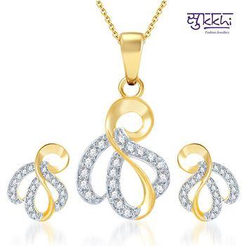 Sukkhi Incredible Gold and Rhodium Plated CZ pendants Set
