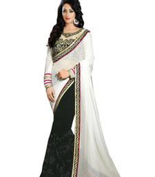 Buy Dark Green and White Sequin Work Georgette saree with blouse wedding-saree online