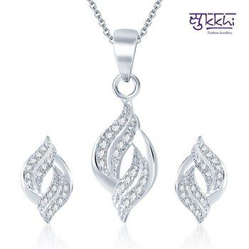 Sukkhi Marvelous Rodium plated CZ pendants Set