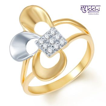 Sukkhi Fine Design Gold and Rhodium Plated CZ Ring