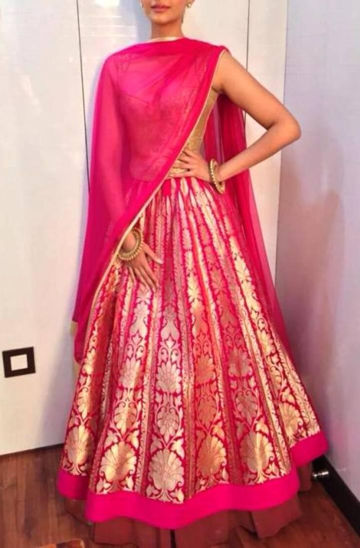 Buy Designer Pink Raw Silk Embroidered Lehenga Online