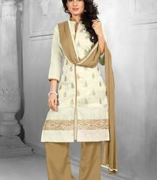 Buy Cream embroidered chanderi semi stitched salwar with dupatta palazzo online