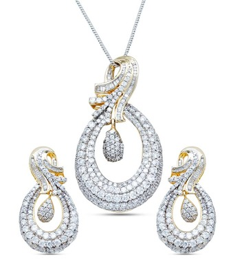Diamond Look Zircon Pendent Set Without Chain