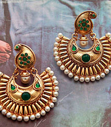 Buy Golden Paisley Earrings - Green hoop online