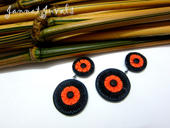 Black and Orange Round Danglers