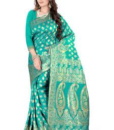 Buy Turquoise plain art_silk saree with blouse art-silk-saree online