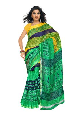 Fabdeal Green & Yellow Silk Printed Saree With Blouse Piece