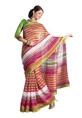 Fabdeal Pink & Green Bhagalpuri Silk Printed Saree With Blouse Piece