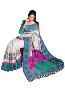 Fabdeal White & Blue Bhagalpuri Silk Printed Saree With Blouse Piece