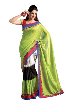 Fabdeal Green & White Bhagalpuri Silk Printed Saree With Blouse Piece