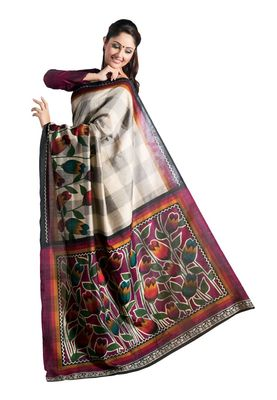 Fabdeal Black & Red Bhagalpuri Silk Printed Saree With Blouse Piece