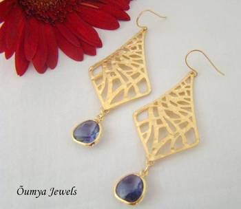 Long Kite earrings with blue drops