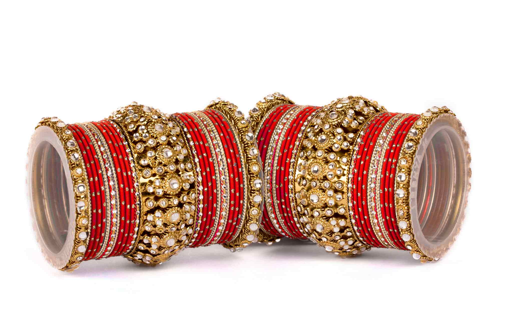 Buy Beautiful golden dot pattern bangle set for two hands Online