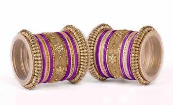 Velvet-like texture bangle set for two hands