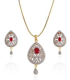 Buy Classic Collection Red pear stone studded pear shape Pendent Set Pendant online