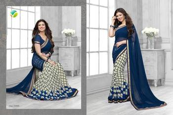 White and Blue printed georgette saree with blouse