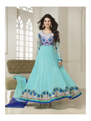 Cyan embroidered net semi stitched anarkali dress with dupatta