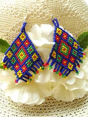 Handmade Bead Earrings- Blue