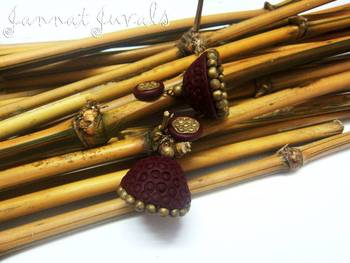 Brown and Antique Gold Jhumka