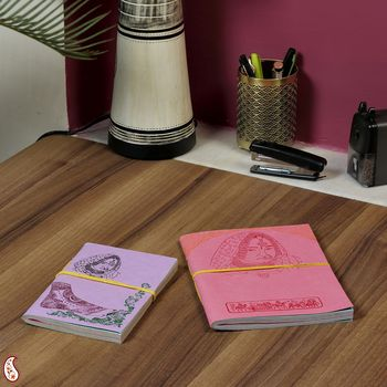 Multicoloured paper Hand Made Paper Diary set with Traditional Prints