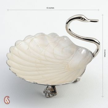 Handcrafted Silver Plated Brass Swan Bowl with enamel work