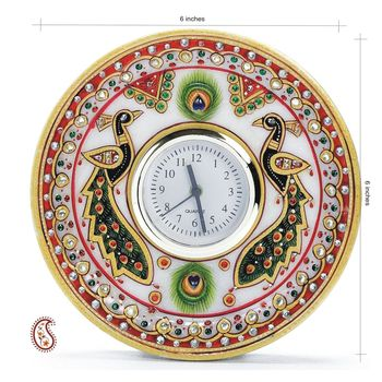 Peacock Motif Round Shaped Marble Clock with Kundan work