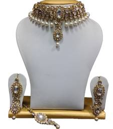 Buy Dazzling kundan set in White With Pearl Hangings necklace-set online