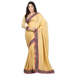 Buy  beige embroidered jacquard saree with blouse half-saree online