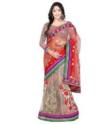 Buy  multicolor embroidered Net saree with blouse half-saree online