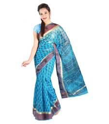 Buy Latest Floral Print Design Border Kota Doria Sari Diwali Special Gift 242 diwali-sarees-collection online