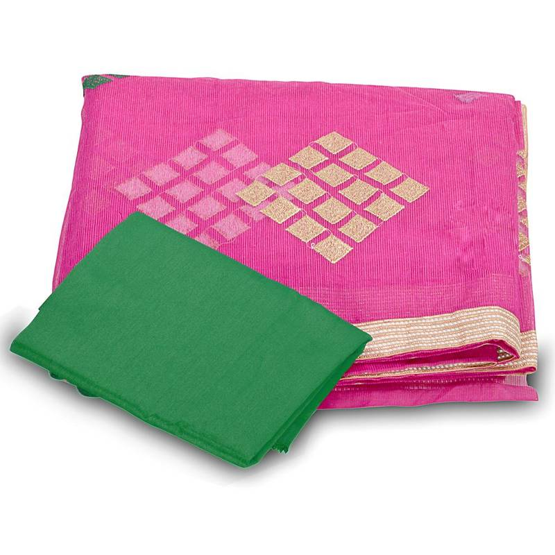 Buy resham n zari embroidery boota work supernet saree