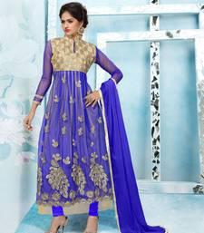 Buy Blue embroidered Net semi stitched salwar with dupatta party-wear-salwar-kameez online