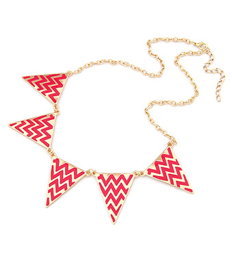 Aztec Print Necklace-Red