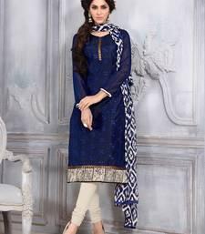 Buy Blue printed Chanderi unstitched salwar with dupatta dress-material online