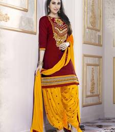 Buy Maroon Pure Cotton Cambric embroidered salwar with dupatta dress-material online