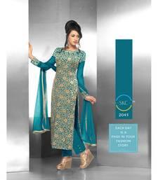 Buy C.Green embroidered velvet semi stitched salwar with dupatta eid-special-salwar-kameez online