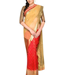 Buy Gold woven silk saree with blouse brocade-saree online