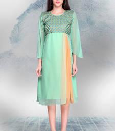 Buy Sea Green Georgette Embroidered Tunic pakistani-kurtis online