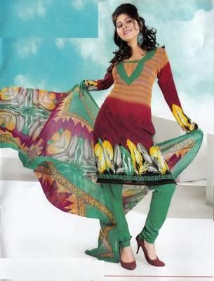 Dress material crepe designer prints unstitched salwar kameez suit d.no NT1507