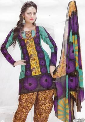 Cotton dress material unstitched salwar suit with chiffon dupatta d.no pk1107