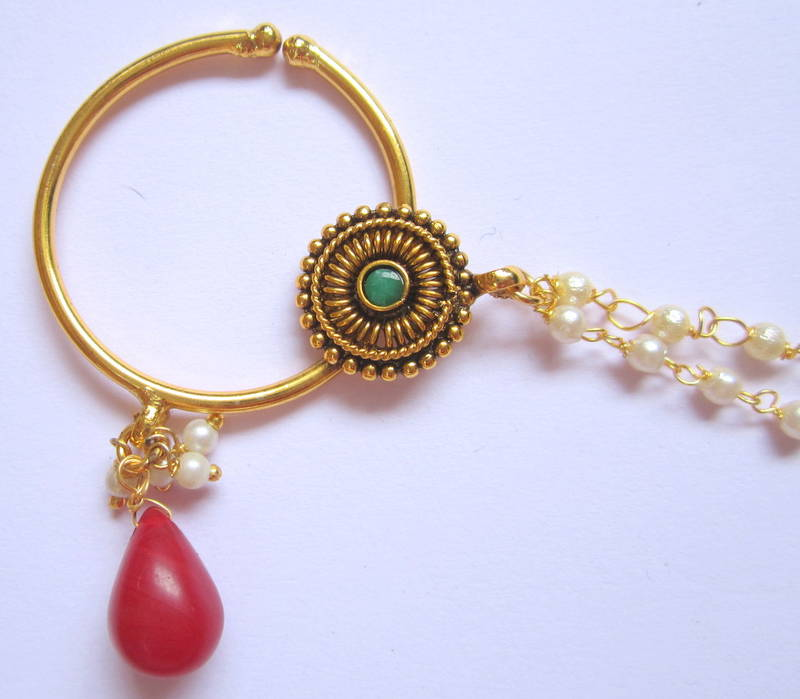 Buy NOSE RING BRIDAL press NATH Gold plated Red Green attached ...