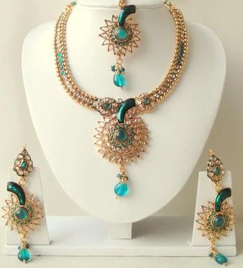 BEAUTIFUL STUNNING PEACOCK BLUE ANTIQUE POLKI BRIDAL NECKLACE SET