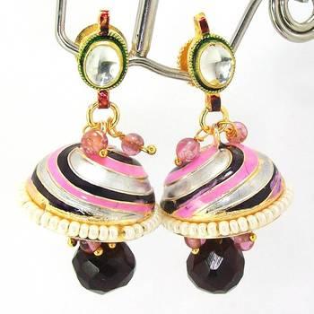 Meenakari Kundan Drop Tokri Earring Black Pink Spiral