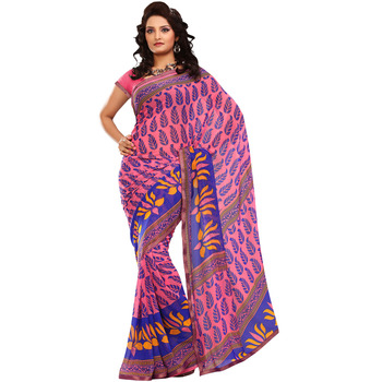 TopDeals Party Wear Light Pink Colored Georgette Saree With Unstiched Blouse