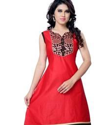 Buy Red Printed Cotton Sleeveless Kurti tunic online