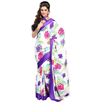 TopDeals Casual Wear White & Violet Colored Georgette With Sattin Patti Saree With Unstitched Blouse