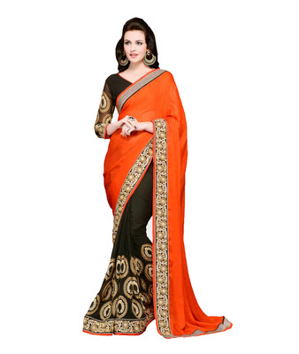 Orange and Black embroidered georgette saree with blouse