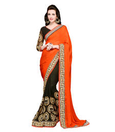 Buy Orange and Black embroidered georgette saree with blouse half-saree online