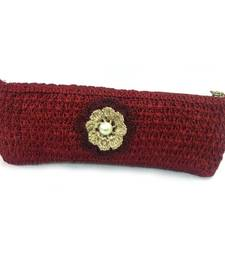 Buy Crochet Clutch with Motif in Maroon clutch online
